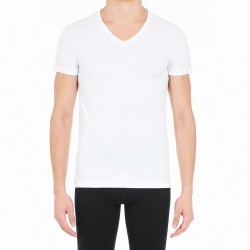 T-shirt col V Supreme Cotton - blanc - HOM 401331-0003