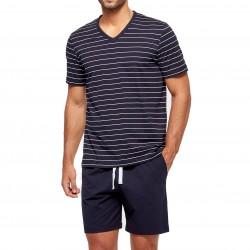 Pyjama court ORGANIC rayé - bleu