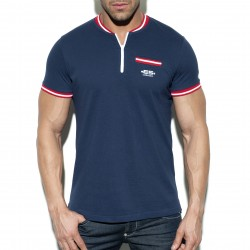 Polo Short zip mao - navy