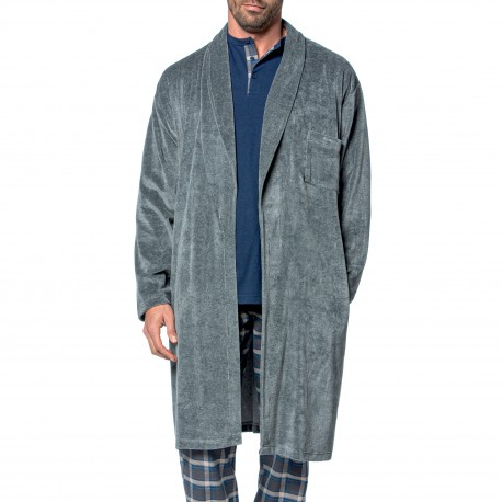 Robe de chambre Bata velours - gris - GUASCH GB241 1C