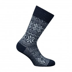 MI-CHAUSSETTES Big mesh Norwegian two-coloured Alpaga and Acrylic Blue - LABONAL 35256-1000
