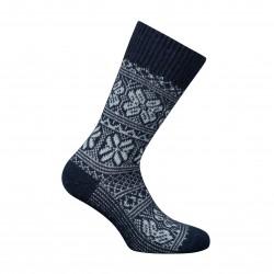 MI-CHAUSSETTES Grosses mailles motifs norvégien bicolores Alpaga et Acrylique Bleu - LABONAL 35256-1000