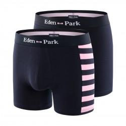 Lot de 2 boxers rayé rose et uni - EDEN PARK E658G19-E83