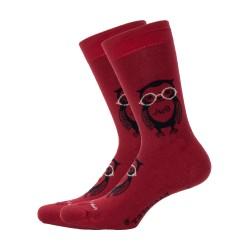 Chaussettes Hibou Rouge - DAGOBERT À L'ENVERS DAGO41-ROUGE