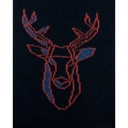 Chaussettes réversibles Cerf Noir Intérieur Bleu pétrole - DAGOBERT À L'ENVERS DAGG40-MARINE/JEAN