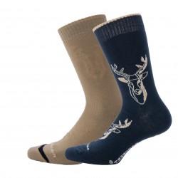 Reversible socks Black Deer Inside Beige