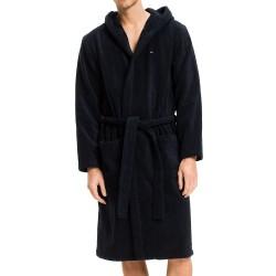 Peignoir en pur coton à capuche - marine - TOMMY HILFIGER 2S87905573-416