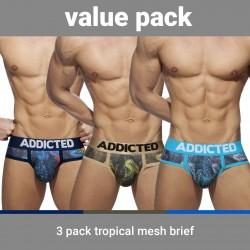 Slip Tropical mesh Push-up (Lot de 3) - ADDICTED AD889 3COL