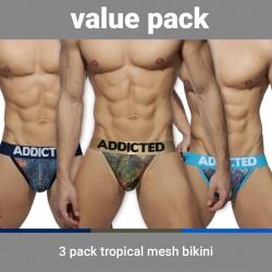 Slip Tropical mesh Push-up (Lot de 3) - ADDICTED AD891P 3COL