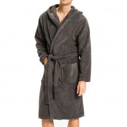 Peignoir en pur coton à capuche - gris - TOMMY HILFIGER 2S87905573-884