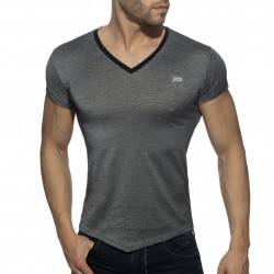 T-Shirt col V mini stripes - noir - ADDICTED AD901-C10