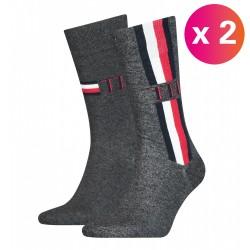 Lot de 2 paires de chaussettes - gris rayé marine, blanc & rouge - TOMMY HILFIGER 100001492-003