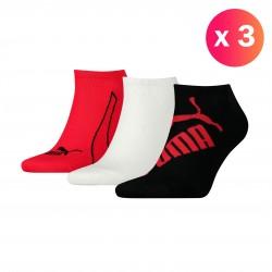 Lot de 3 paires de socquettes PUMA Graphic - noir blanc et rouge - PUMA 261090001-852