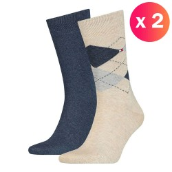 Lot de 2 paires de chaussettes écossais - beige & marine