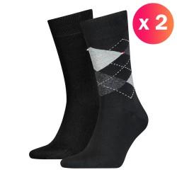 Lot de 2 paires de chaussettes écossais - noir - TOMMY HILFIGER 100001495-200