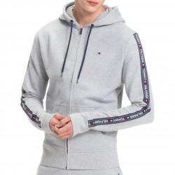 Sweat à capuche zippé bande de logo - gris - TOMMY HILFIGER UM0UM00708-004 - per
