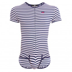 Bodysuit Cotton - rayures marine - ES COLLECTION UN486 09SA