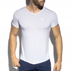 T-shirt col V FLAME - blanc - ES COLLECTION TS283-C01