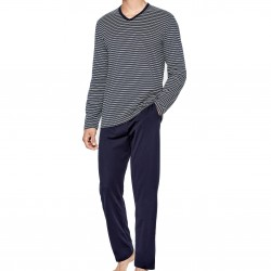 Pyjama Eden Park coton bio rayé - bleu - EDEN PARK E501G67-039