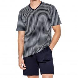 Pyjama court Eden Park coton bio rayé - bleu