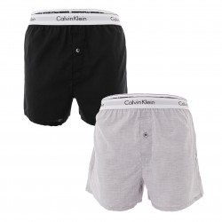 Lot de 2 caleçons slim fit Modern Cotton - noir et gris - CALVIN KLEIN NB1396A-BHY - per