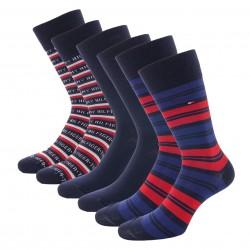 Coffret cadeau 3 paires de chaussettes rayées - navy - TOMMY HILFIGER 701210901-001