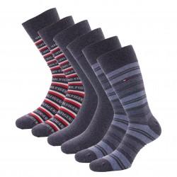Coffret cadeau 3 paires de chaussettes rayées - jeans - TOMMY HILFIGER 701210901-003