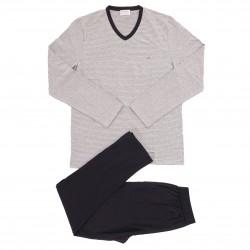 Pyjama Eden Park coton bio rayé - gris - EDEN PARK E501G60-073